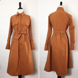 Nwot Long Sleeve Button Front Midi Dress.